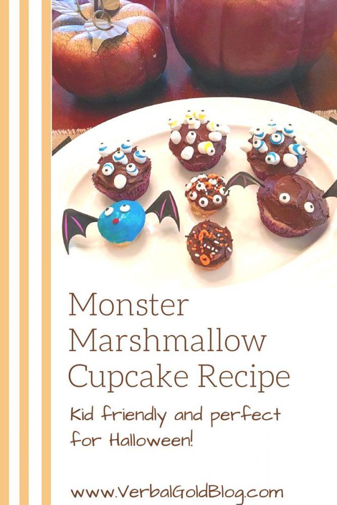 easy monster marshmallow cupcake recipe for halloween
