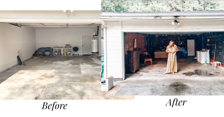 The before and after of the garage of our house renovation in Atlanta!