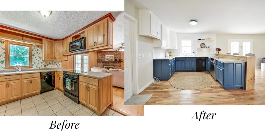 Before and after of the kitchen of our first house flip