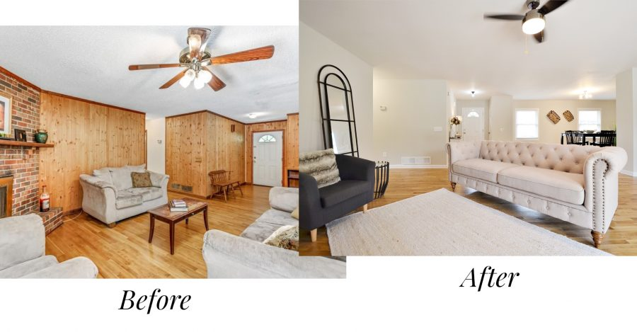 Before and after of the living room of our reno house flip