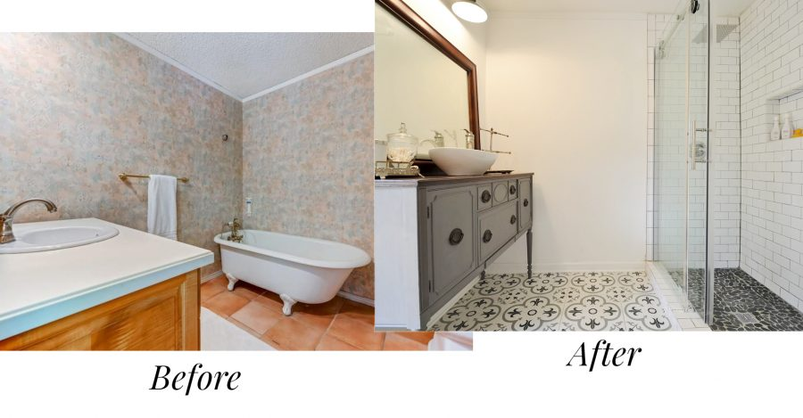 The before and after of our first house flip's bathroom