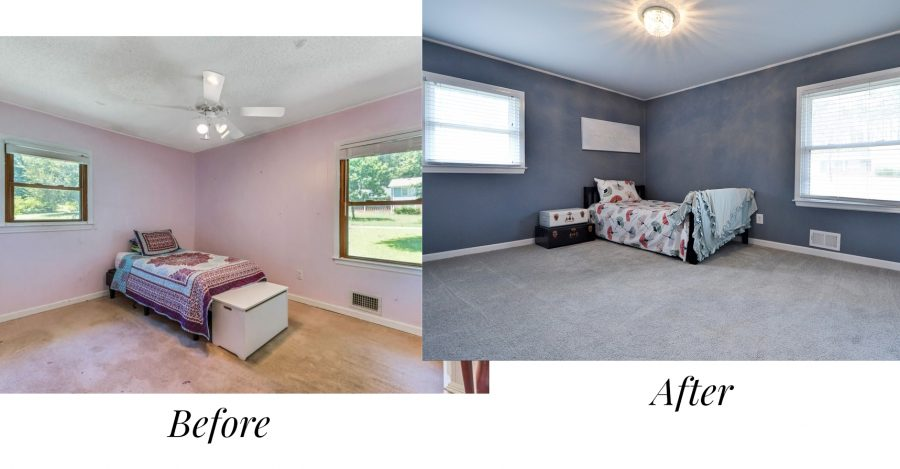 Before and after of one of the bedrooms in our house renovation
