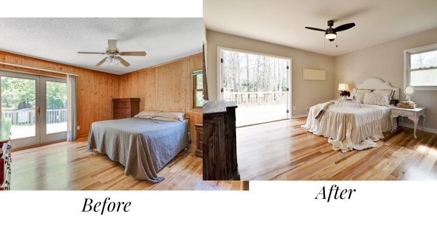 The before and after of our master bedroom in our house flip