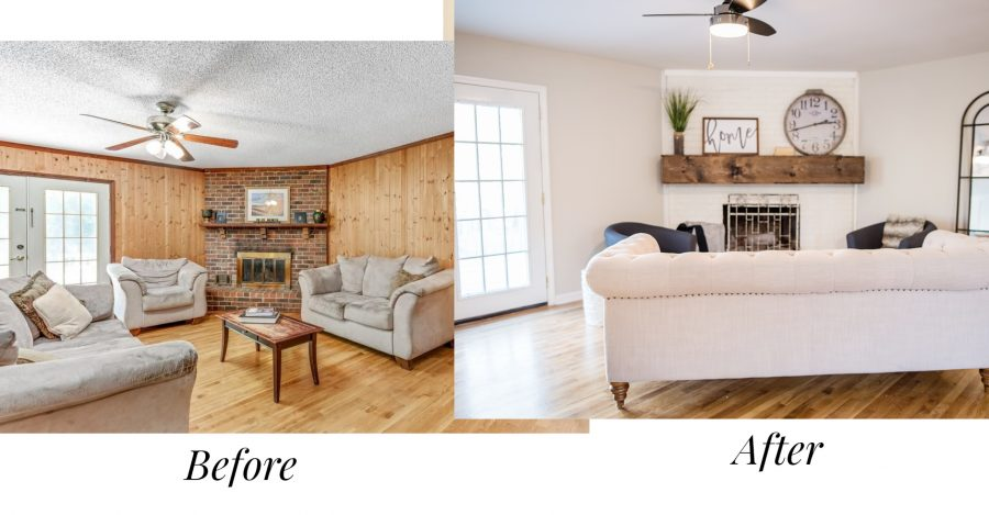 Before and after of the living room of our first house flip