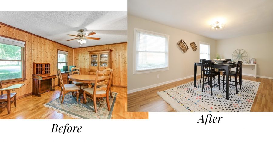 Before and after of the living room of our first house renovation