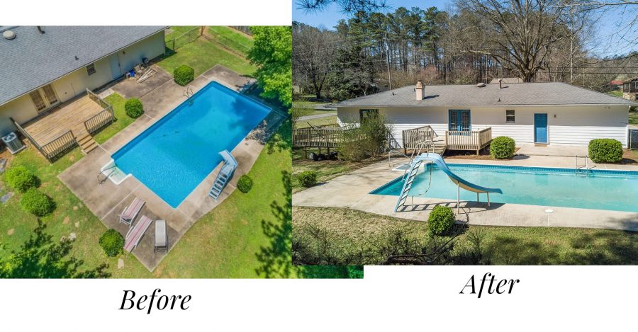 Before and after of the pool of our first time flipping a house