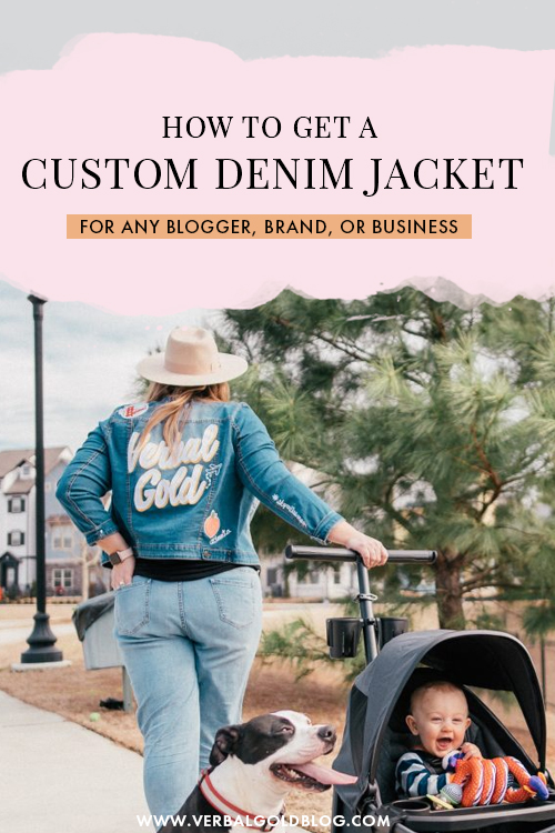 Looking for a unique outfit? On this post, I share how to get your own custom denim jacket with your name or business name, perfect for bloggers, brands and small businesses! #Blogging #Style