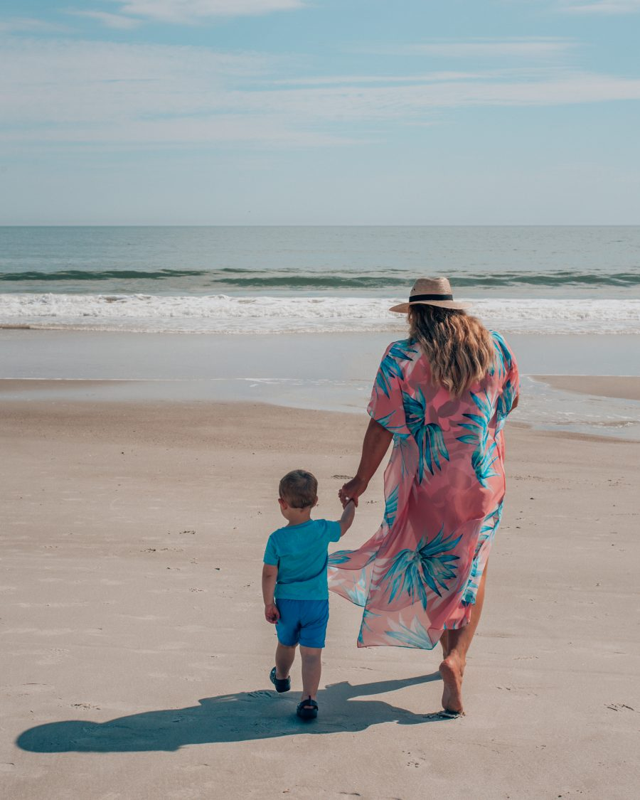 Mom and son holidaying in Jacksonville, Florida