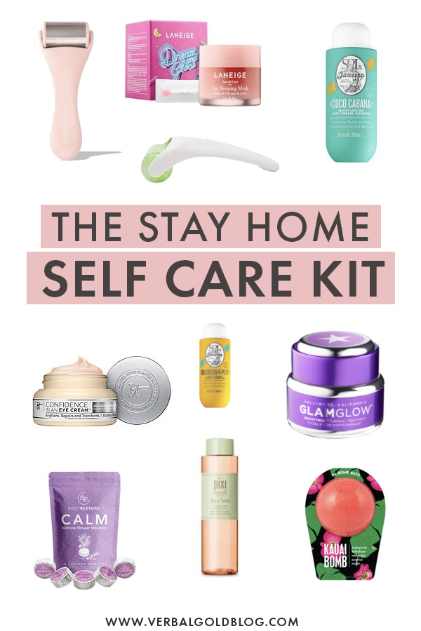 The ultimate self care kit with everything you need for an at home spa day. If you want to practice self care at home, here are the top products you need to set up the perfect home spa!